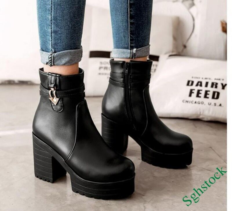 Retro Punk Women's Ankle Boots Platform High Block Heels Zip Creeper shoes 4-11