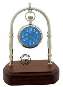 Maritime-Brass-Desk-Clock-With-Wooden-Home-Decor-Nautical-Hanging-Watch