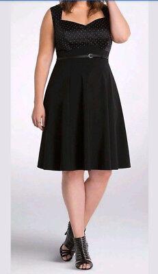 Torrid plus Size 20 Black / white polka dot pinup Rockabilly little black  Dress | eBay
