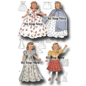 """Patsy Composition Doll Dress Pattern Vtg Snow White 13/"""" 14/"""" Shirley Temple"""