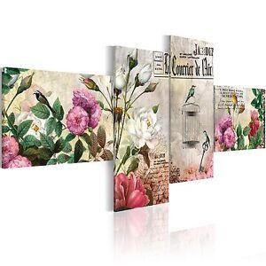 wandbilder xxl vintage blumen leinwand bilder 4 teilig wohnzimmer 020115 49 ebay. Black Bedroom Furniture Sets. Home Design Ideas
