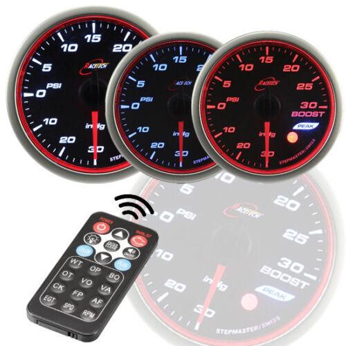 52mm 60mm WRC Series Boost Turbo gauge Meter White//Amber//Blue Smoke LED PSI//BAR