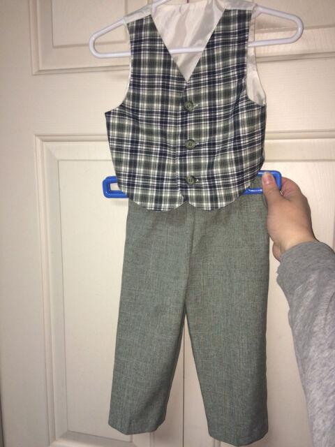 8d65231f Infant Boys~2PC~Suit~Green~Blue Plaid~Dress Vest~Sage Green Pants~Sz ...