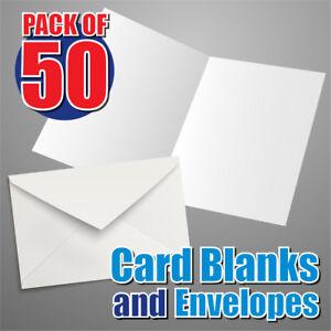 50-x-A5-White-290gsm-Card-Blanks-White-Envelopes