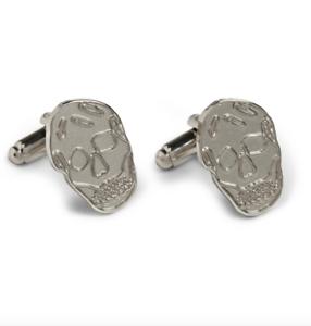 Alexander-McQueen-Cufflinks-BNWT-Engraved-Gunmetal-Silver-Tone-Metal-Skull