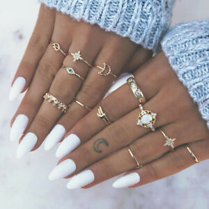 fashion-Retro-Opal-Crown-Drill-Explosion-Star-Moon-Joint-13-Piece-Ring-Jewelry