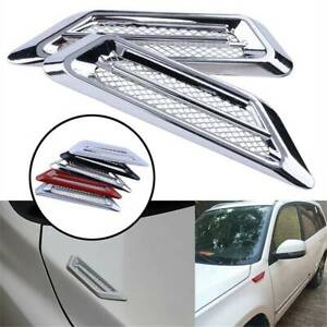Universal-Side-Wing-Car-Air-Flow-Intake-Vent-Trim-Fender-Scoop-Bonnet-Chrome
