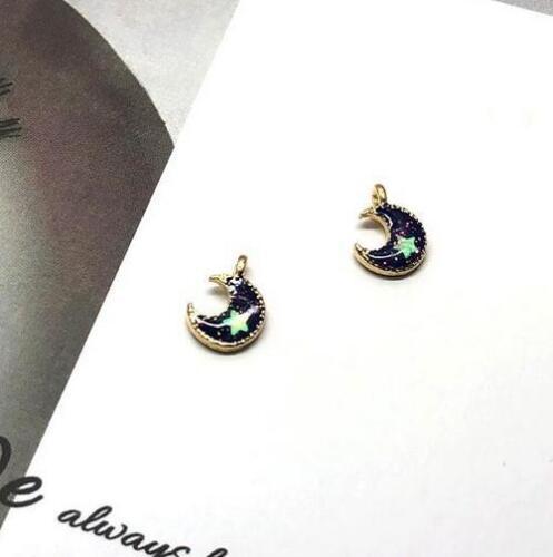5pcs Sequin Drip oil moon planet pendant Kids earrings bracelet Accessories