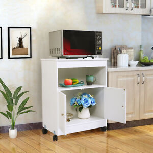 Image Is Loading Kitchen Microwave Cart Rolling Wooden Storage Cabinet Shelf