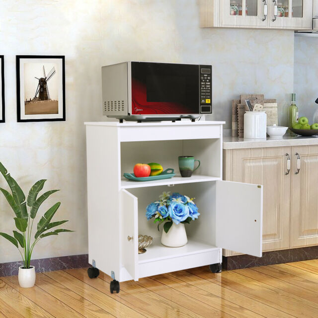 White Wood Cabinet Microwave Cart Storage Shelf Space