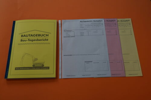 selbstdurchschreibend NEU 3x40 Blatt Bau-Tagesbericht DIN A4 BAUTAGEBUCH