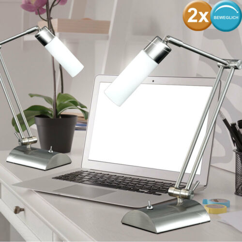 2x Büro Schreib Tisch Lampe Design Leuchte Beleuchtung Strahler beweglich WOFI