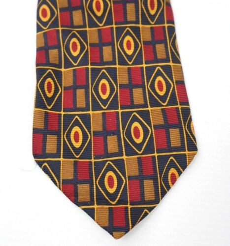 Coach Mens Tie Geometric Navy Red Brown  100% Silk