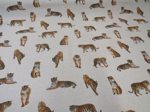 Designer Digital Tiger on Natural Linen Look Fabric Crafts Upholstery Curtain
