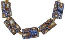 Pr Vintage Venetian Murano Millefiori Beads Aventurine White Square Rectangles