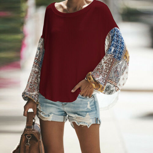 Womens Lady Long Puff Sleeve Pullover Sweater Blouse Crew Neck Loose Jumper Tops