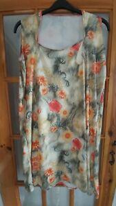 Vintage-Handmade-Orange-Floral-Dress-Size-2XL-UK24-1970s-1980s