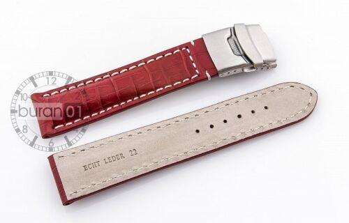 Bracelets de montre boucle déployante alligatorprägung cuir rouge 22mm geprägt
