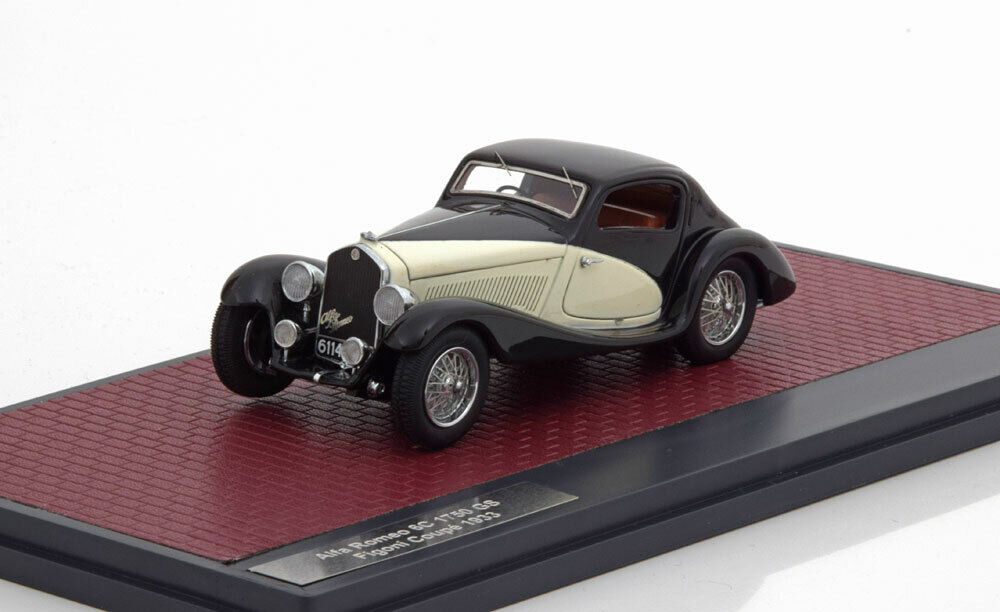 ALFA ROMEO 6C 1750 GS FIGONI COUPE 1933 nero bianca MATRIX MX40102-091 1 43
