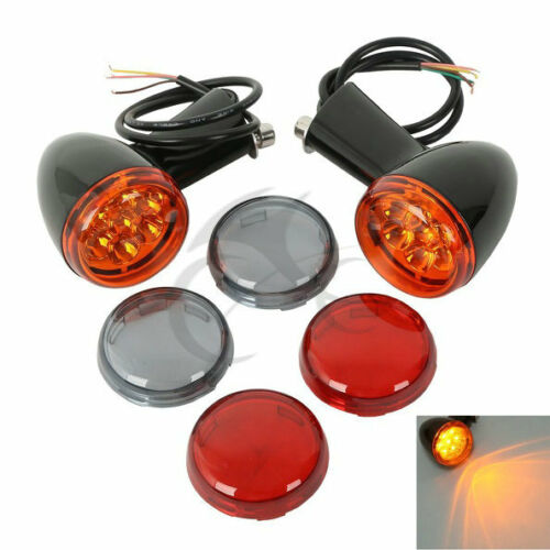 Black Rear LED Turn Signals Light Bracket Fit For Harley XL Sportster 92-17