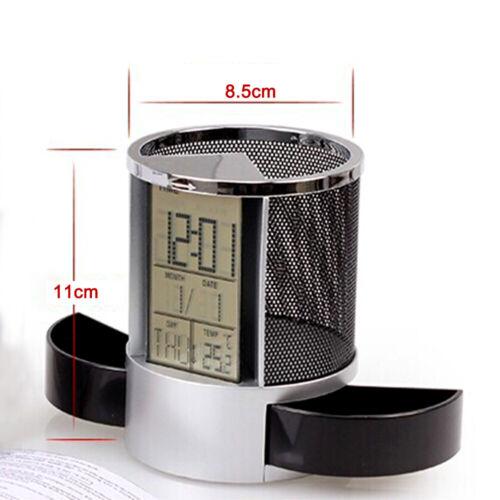 Stift Stifthalter LCD Schreibtisch Wecker Kalender Timer Temperatur Tischuh D9N8