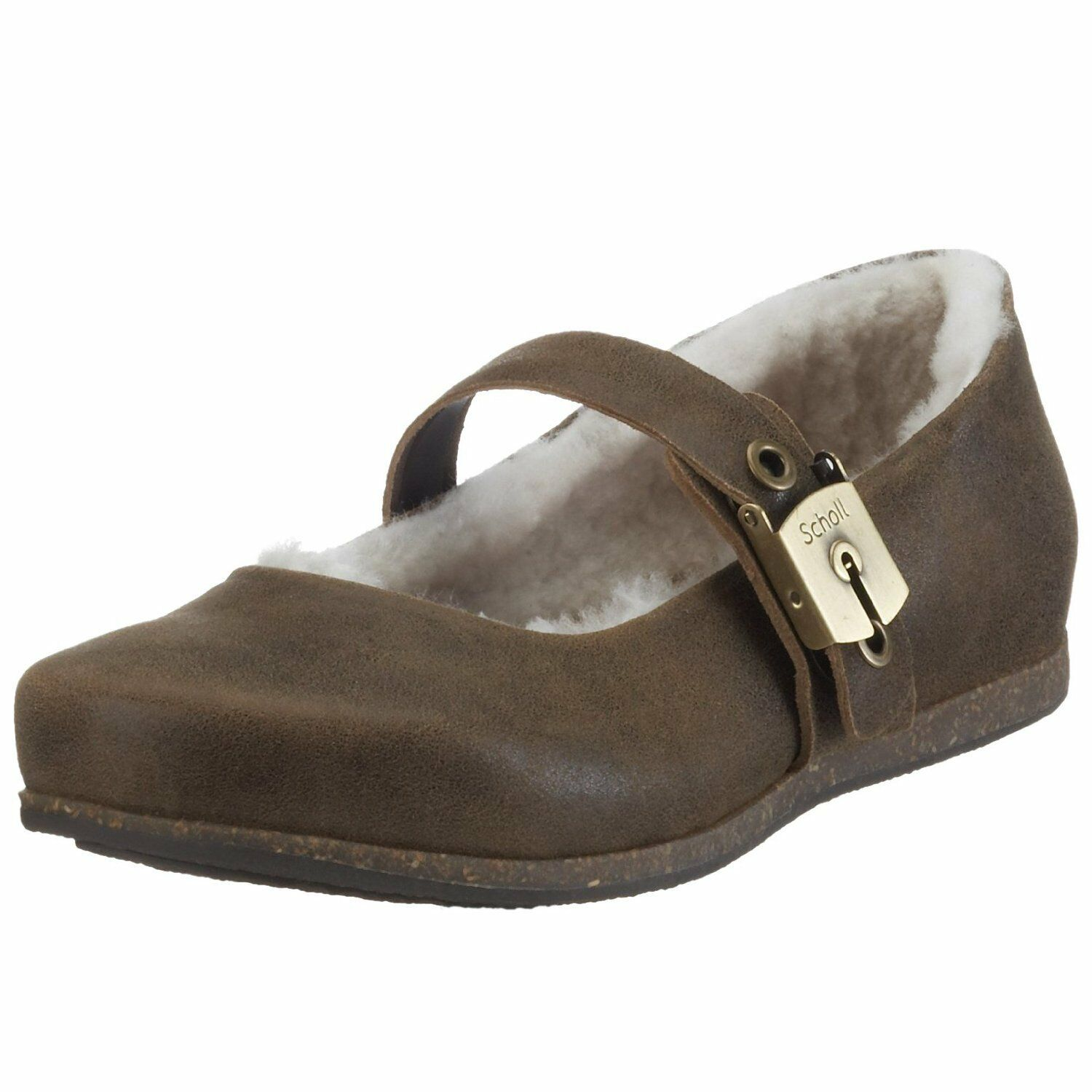 Scholl Aisha shoes Femme 41 Ballerines Fourrées Shearling Lambswool UK7 New