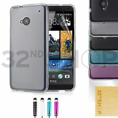 NEW ULTRA THIN CRYSTAL GEL CASE COVER FOR HTC ONE M7 /M8 + SCREEN PROTECTOR