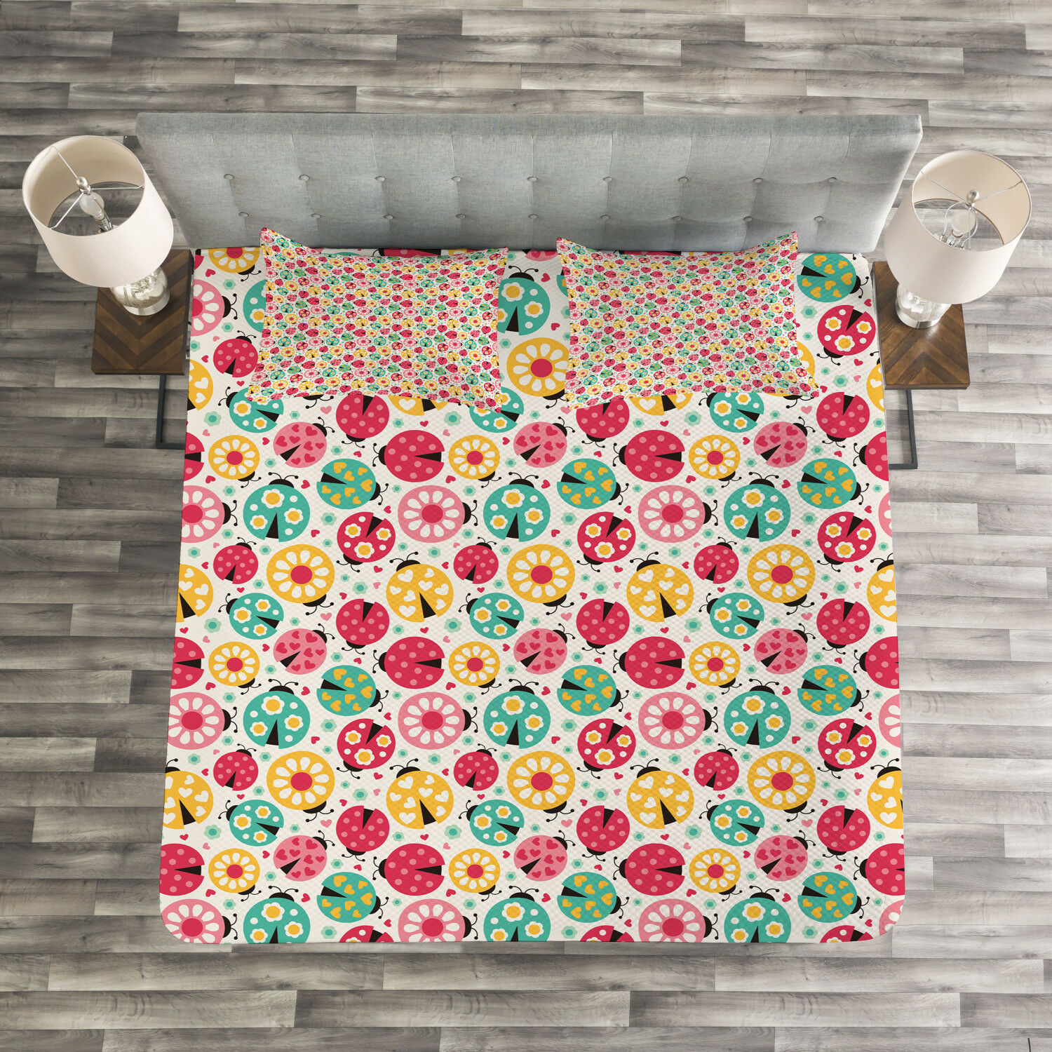 Ladybugs Quilted Bedspread & Pillow Shams Set, Abstract Beetle Design Print