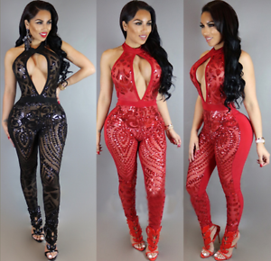 6284f909ea62 Image is loading Sexy-Women-Backless-Halter-Sequin-Jumpsuit-Romper-Club-