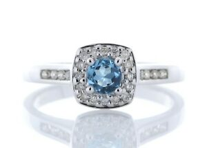 Diamond-And-Blue-Topaz-9ct-White-Gold-Cluster-Set-Ring-Cert-AGI-FREE-Ship