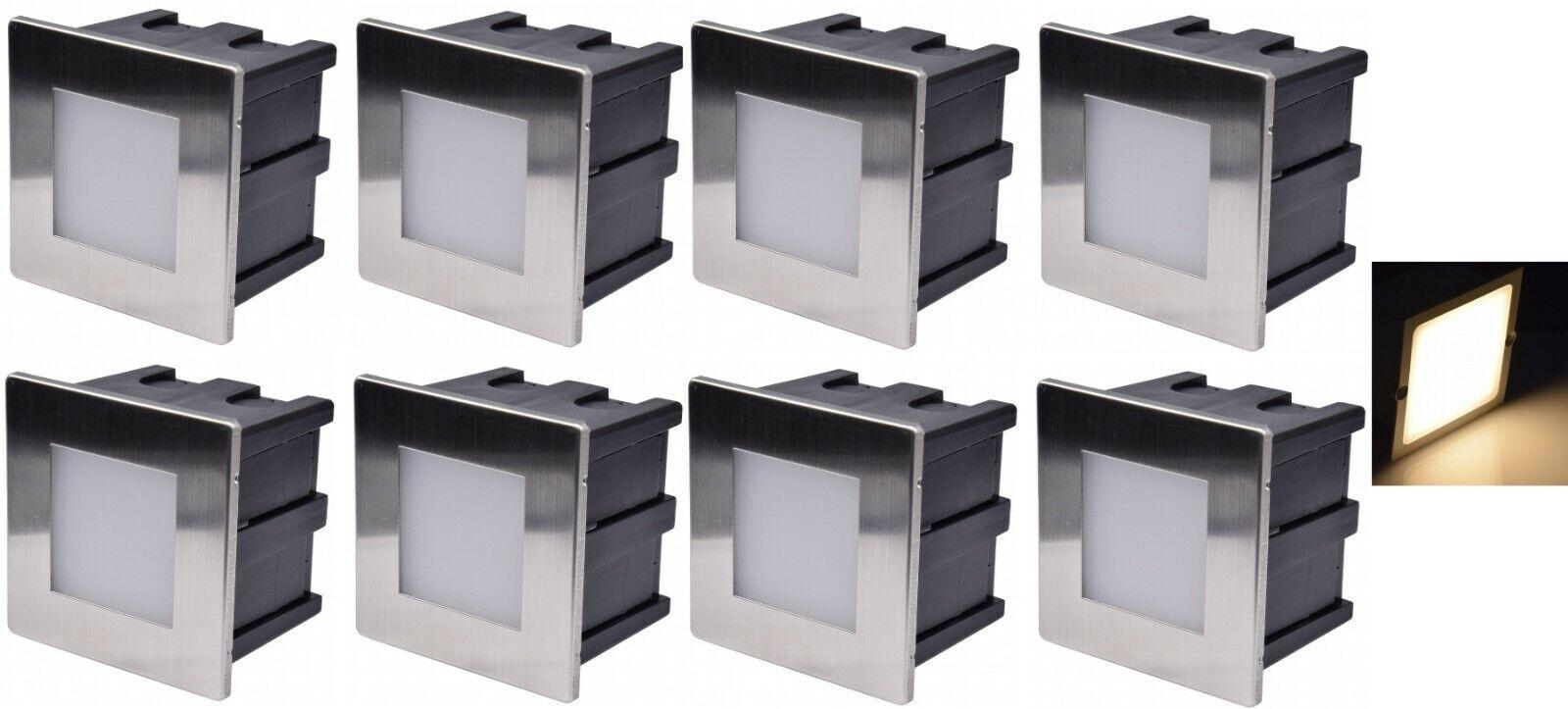 8 x LED-Wand-Einbauleuchte Boden Treppenleuchte Treppenleuchte Treppenleuchte Stufenleuchte 230V IP65, 8x8cm | Authentische Garantie  | Online  | Gewinnen Sie das Lob der Kunden  ecc42a