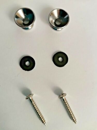 2pcs Guitar Bass Ukulele strap pins+screws//washers Black Chrome Gold Colour UK