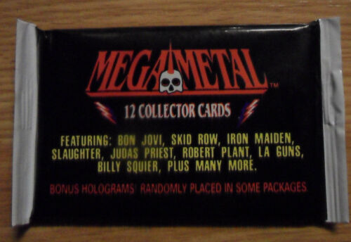 Unopened Pack 1991 MEGA METAL Rock Music Cards ~ Bon Jovi Skid Row Iron Maiden