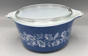 PYREX Casserole Bowl 473-B Colonial Mist Blue White Flowers 1 L