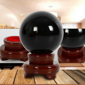 100mm-Natural-Black-Obsidian-Sphere-Crystal-Ball-Scrying-Healing-w-Stand-brack