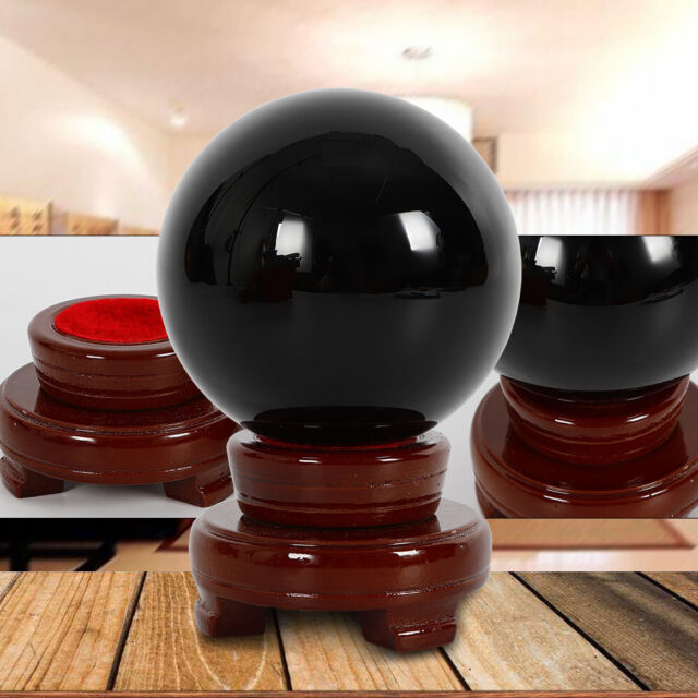 100mm Natural Black Obsidian Sphere Crystal Ball Scrying Healing w/ Stand brack