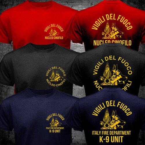 Italie Pompier Fire Department K-9 VIGILI DEL FUOCO NUCLEO Cinofili T-Shirt