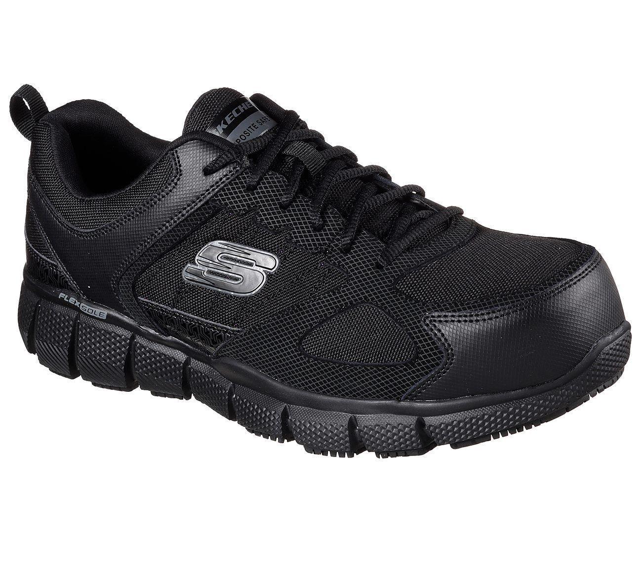 Nero Skechers Skechers Skechers scarpe Wide Men's 77132 Work W Memory Foam Slip Resistant safe Toe 05f688