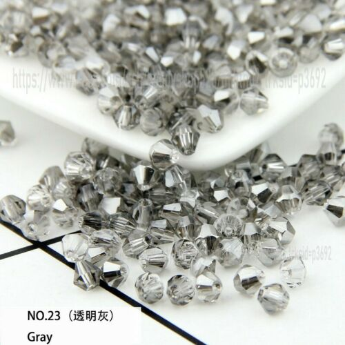 Bicone Spacer Crystal Glass Loose Beads 4mm 6mm 8mm Assorted DIY Jewelry Beads
