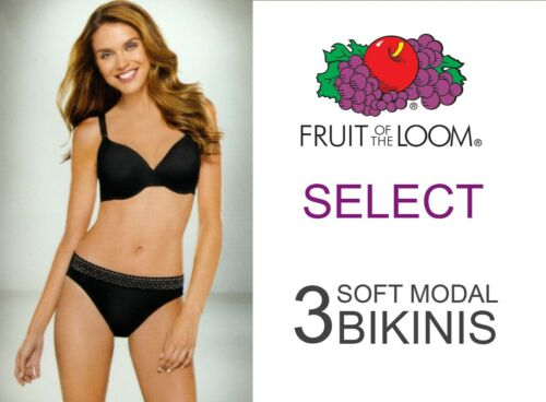 Fruit of the Loom Women/'s Lace No Panty Lines Bikinis Assorted colors 3 PACK