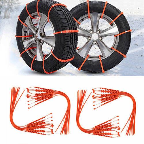 10PCS Car Truck Snow Anti-Skid Wheel Tire Chains Anti-Slip Belt Green Orange hi