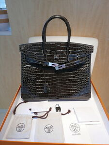 Image Is Loading New Hermes Graphite Porosus Crocodile 35cm Birkin Bag