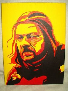 Details About Canvas Painting Game Of Thrones Ned Stark Yellow Art 16x12 Inch Acrylic