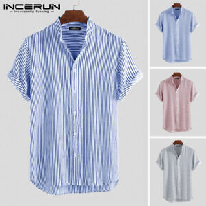US Mens Holiday Shirts Short Sleeve Light Summer Collarless Cotton Striped Shirt