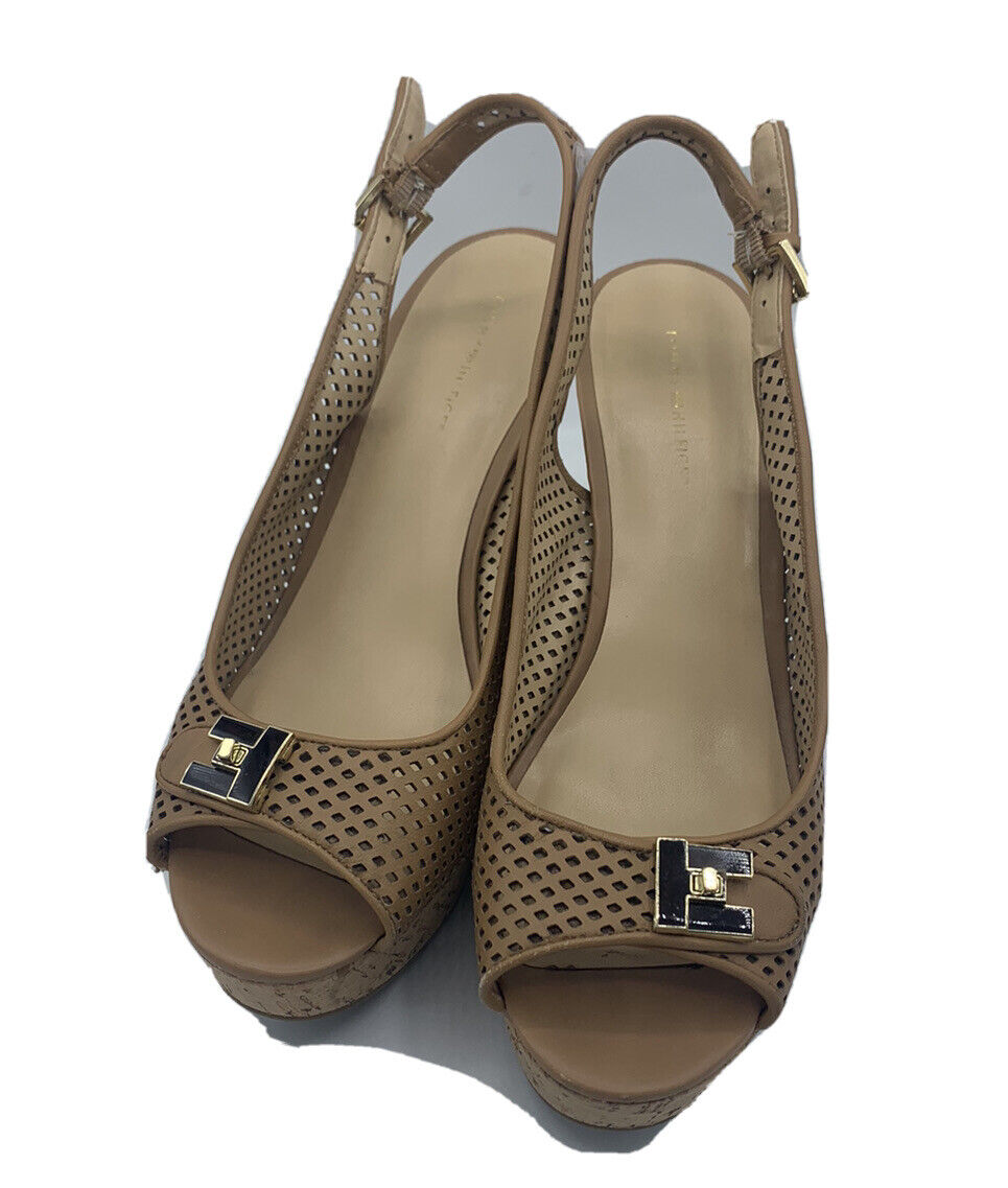 Tommy Hilfiger Size 8.5 M Tan Leather Cork Wedges - image 3