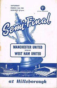 Football Programme Cover Reprints F.A.Cup Semi Final Man Utd. v West Ham 1964