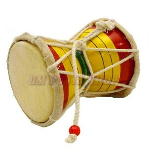 Details about Indian Religious Wooden Damroo Musical Instrument Shiva  Damaru Sound Making