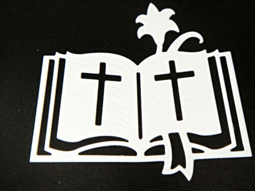 8 Religious Any Colour Christening//Sympathy Holy Bible Die Cuts DV