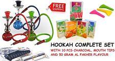 Hookah Pumpkin 1 Hose Shisha Nargila Pipe Bong Glass Bowl Set Coal Tips Flavour