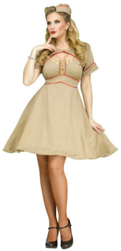 Army Gal Retro Pinup WWII WW2 1940/'s Nurse Adult Costume S//M 2-8